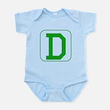 Green Block Letter D Body Suit