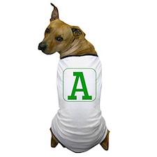 Green Block Letter A Dog T-Shirt