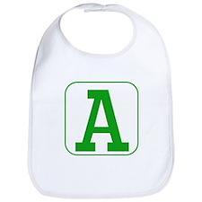 Green Block Letter A Bib
