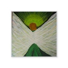 "Green Angel White Wings Square Sticker 3"" x 3"""