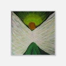 """Green Angel White Wings Square Sticker 3"""" x 3"""""""
