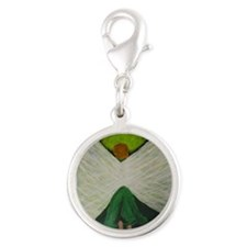 Green Angel White Wings Silver Round Charm