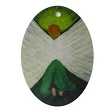 Green Angel White Wings Oval Ornament