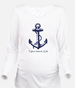 Tybee Island, GA Anchor Long Sleeve Maternity T-Sh