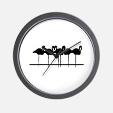 Black flamingos Wall Clock