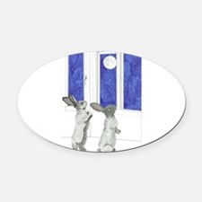 Daily Doodle 4 Rabbit Moon Oval Car Magnet