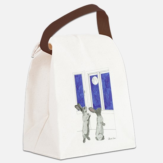 Daily Doodle 4 Rabbit Moon Canvas Lunch Bag
