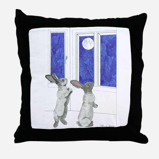 Daily Doodle 4 Rabbit Moon Throw Pillow