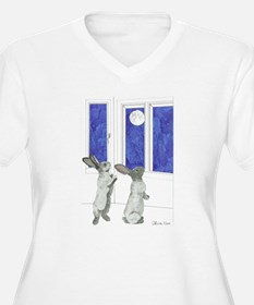 Daily Doodle 4 Rabbit Moon Plus Size T-Shirt