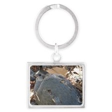 Mommy and Baby Quail Landscape Keychain
