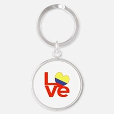 Red Colombia LOVE Round Keychain