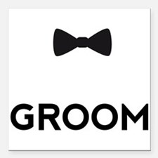 """Groom with bow tie Square Car Magnet 3"""" x 3"""""""