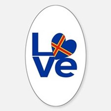 Blue Aaland Islands LOVE Sticker (Oval)
