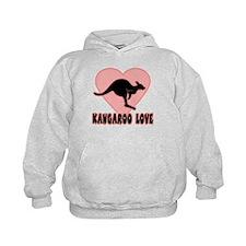 Kangaroo Love Pink Heart Hoodie