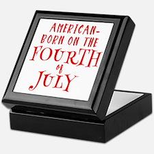 Born American on July 4 Keepsake Box