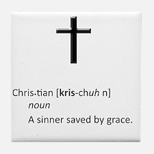 Definition of Christian - A Sinner Sa Tile Coaster