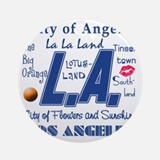LA Los Angeles Round Ornament