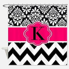 Black Hot Pink Damask Chevron Monogram Shower Curt
