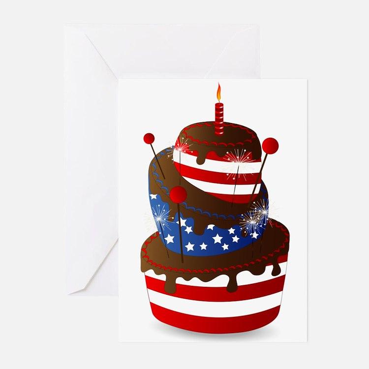 Happy 4th celebration cake Greeting Cards