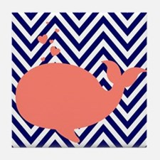 Navy Chevron with Coral Whale Tile Coaster