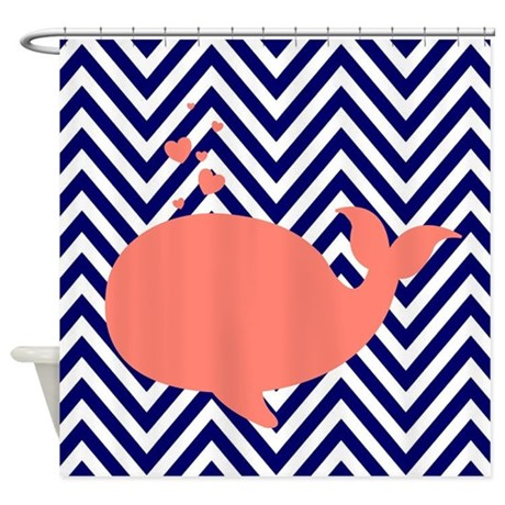 Navy Chevron With Coral Whale Shower Curtain By Morningviewdesigns