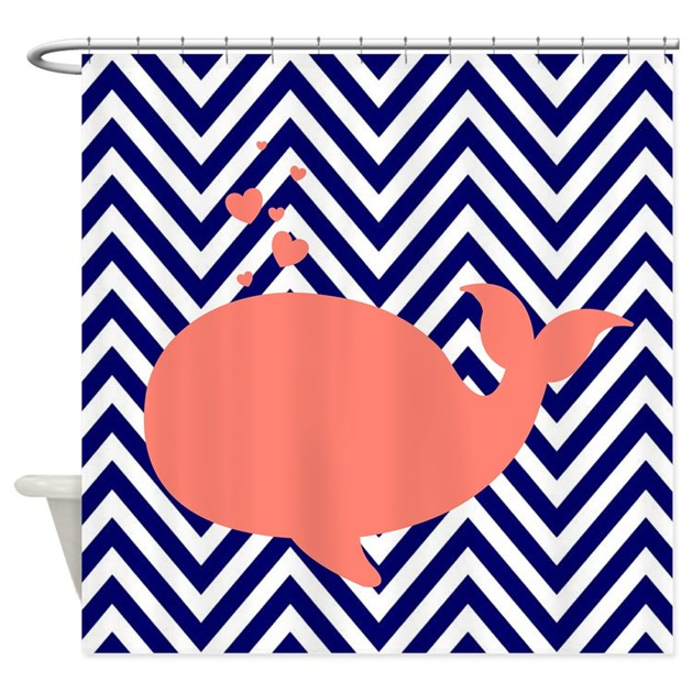 navy chevron with coral whale shower curtain by