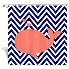 Navy Chevron with Coral Whale Shower Curtain