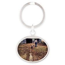 Edith had a little lamb Oval Keychain