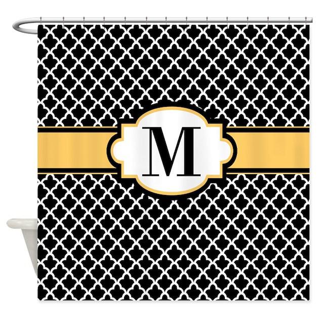 Black yellow quatrefoil monogram shower curtain by for Quatrefoil bathroom decor