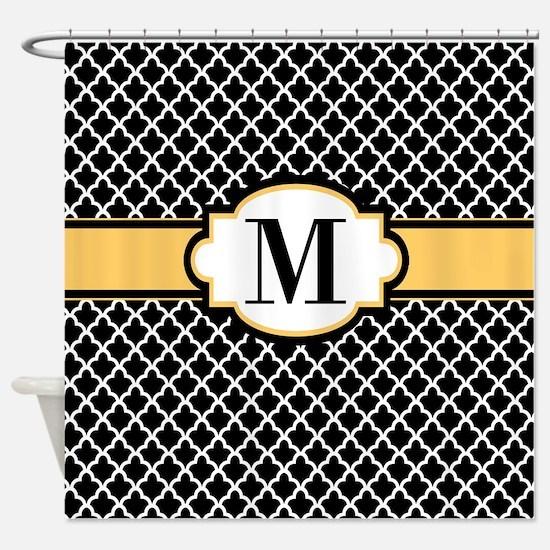 Black Yellow Quatrefoil Monogram Shower Curtain