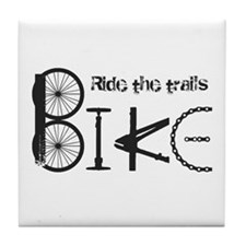 Ride The Trail Bike Graffiti Quote Tile Coaster