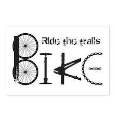 Ride the Trail Bike Graffiti quote Postcards (Pack