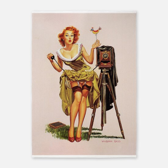 Pin Up Girl, Camera, Vintage Poster 5'x7'area Rug
