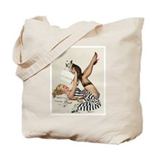 Pin Up Girl, Dog, Vintage Poster Tote Bag