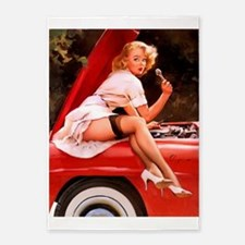 Pin Up Girl, Red Car, Vintage Poster 5'x7'area Rug