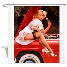 Pin Up Girl, Red Car, Vintage Shower Curtain