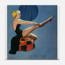 Pin Up Girl, Stockings, Vintage Poster Tile Coaste