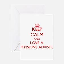 Keep Calm and Love a Pensions Adviser Greeting Car