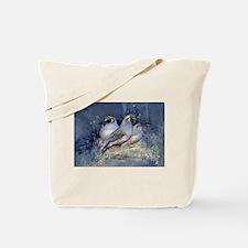 Watercolor California Quail Birds Tote Bag