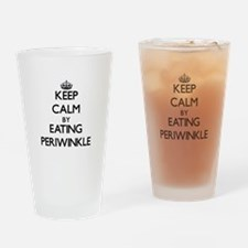Keep calm by eating Periwinkle Drinking Glass