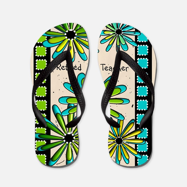 Retired Teacher Floral Flip Flops