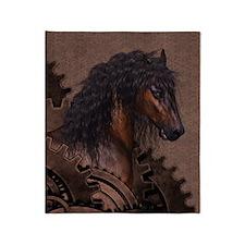 Steampunk Horse Throw Blanket