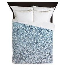 Silver Blue Glitters Sparkles Texture Queen Duvet