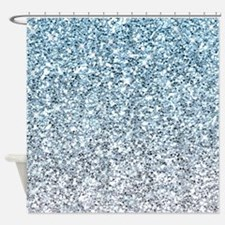 Silver Blue Glitters Sparkles Texture Shower Curta