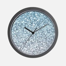 Silver Blue Glitters Sparkles Texture Wall Clock