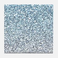 Silver Blue Glitters Sparkles Texture Tile Coaster