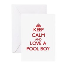 Keep Calm and Love a Pool Boy Greeting Cards