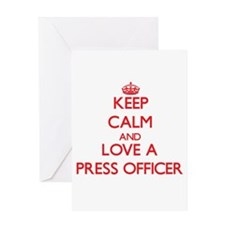 Keep Calm and Love a Press Officer Greeting Cards