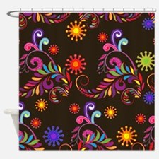 brite multi on black Shower Curtain