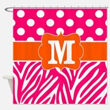 Pink Orange Zebra Dots Monogram Shower Curtain